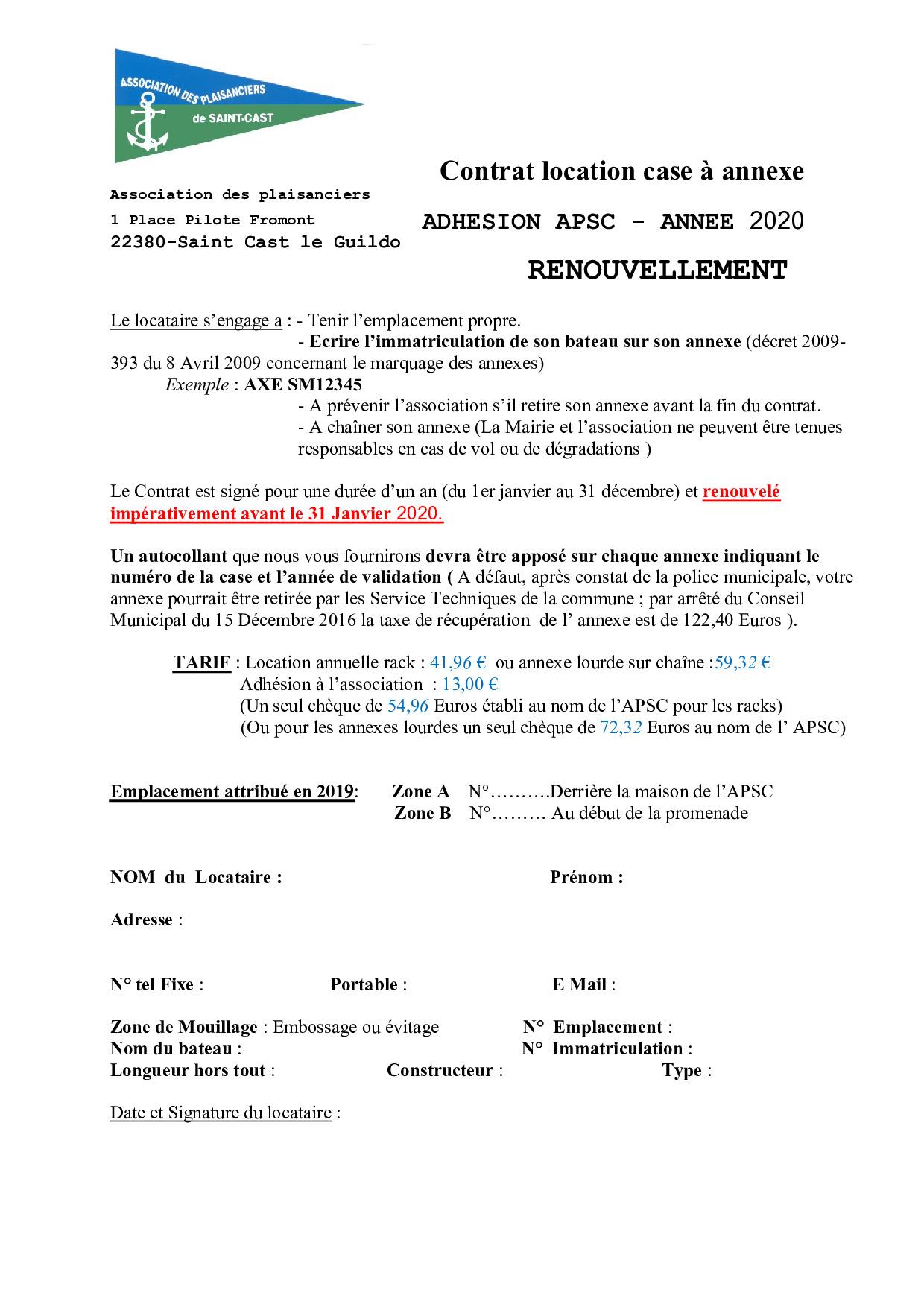 Contrat location case annexe